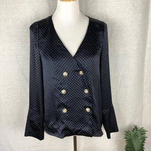 Zara trafaluc collection blue polka dot top size S